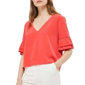 TOPSHOP | Red Ruffle Black Tie Blouse-A22